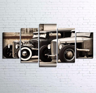 5 Pieces Hot Rod Vintage Car Canvas - It Make Your Day