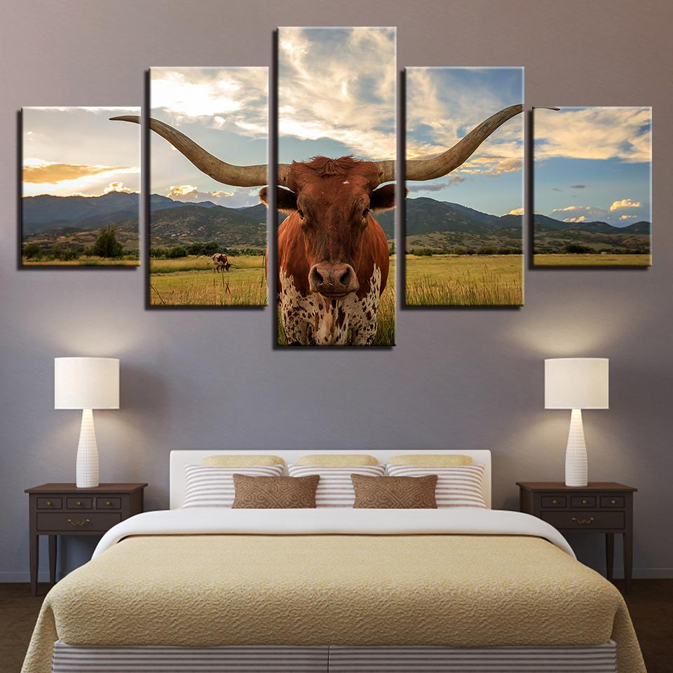 5 Pieces Long Horned Cattle Canvas Paintings - It Make Your Day