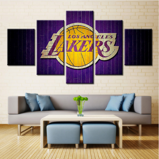 5 Piece Los Angeles Lakers Wall Art Canvas Paintings - It Make Your Day