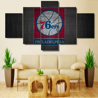 5 Piece Philadelphia 76ers Wall Art Canvas Paintings - It Make Your Day