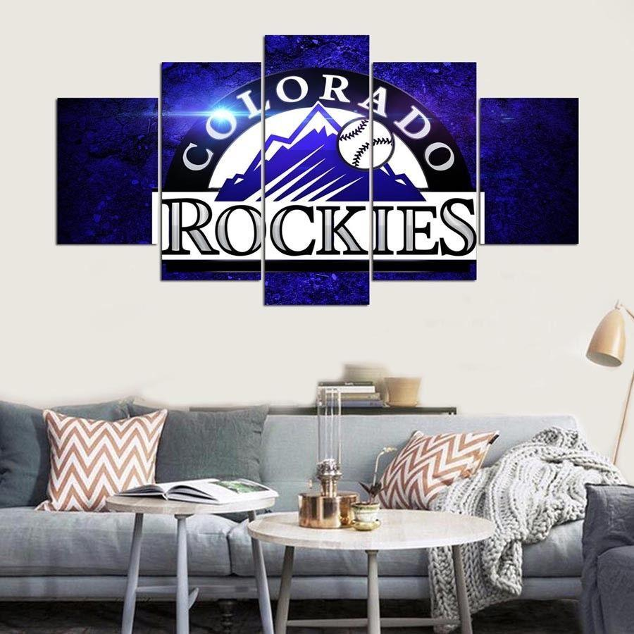 5 Piece Colorado Rockies Team Baseball Canvas Wall Art Painting ...