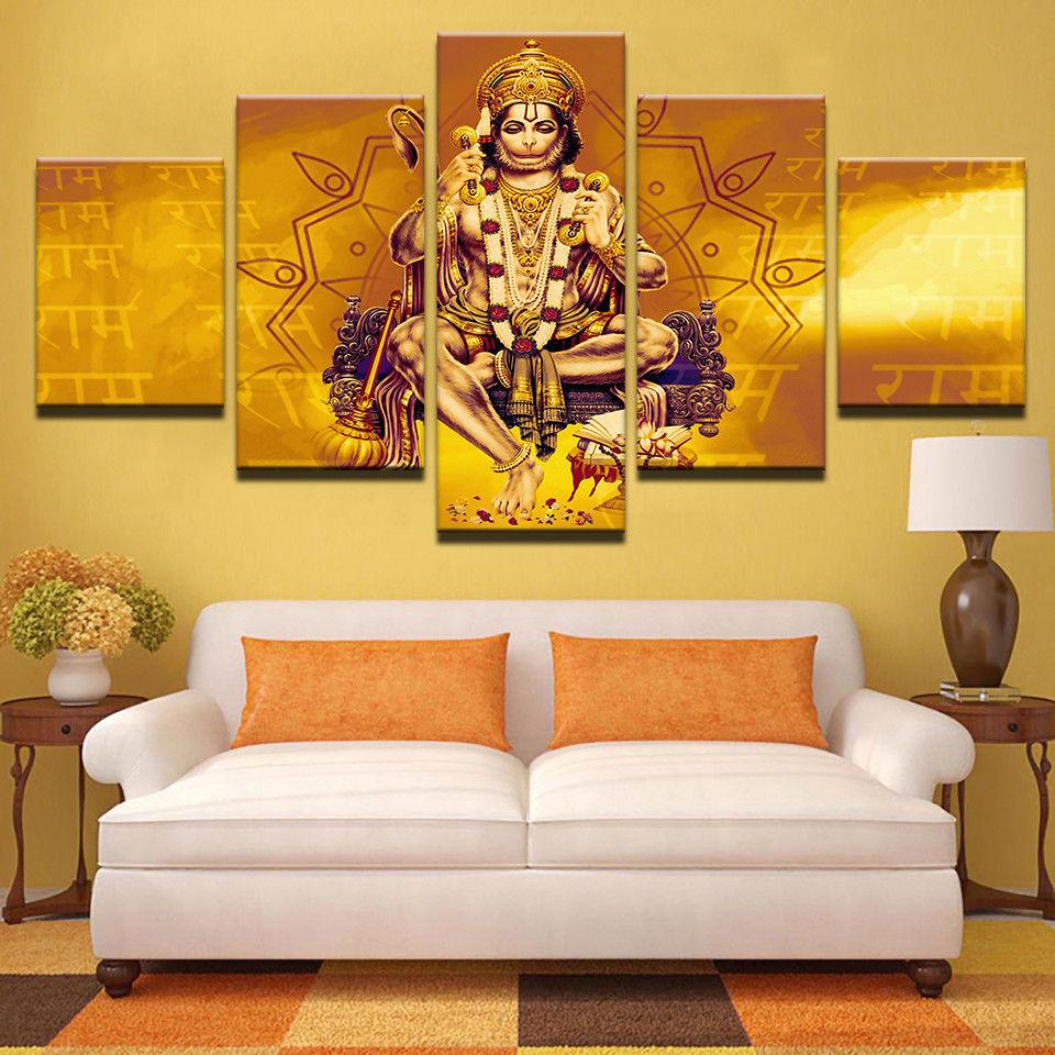 5 Piece Lord Hanuman Shri Ram Monkey Canvas Painting Wall Art - It Make Your Day