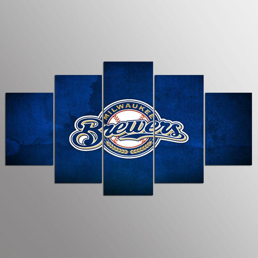 5 Piece Milwaukee Brewers Team Baseball Canvas Painting Frames - It Make Your Day