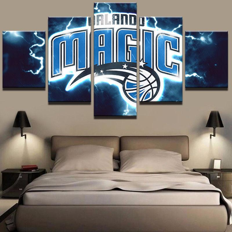 5 Piece Orlando Magic Basketball Canvas Painting Wall Art - It Make Your Day
