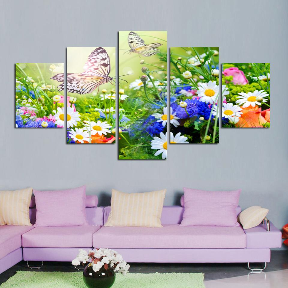 Framed 5 Piece Colorful Blooming Flower Butterfly Canvas Wall Art Sets - It Make Your Day