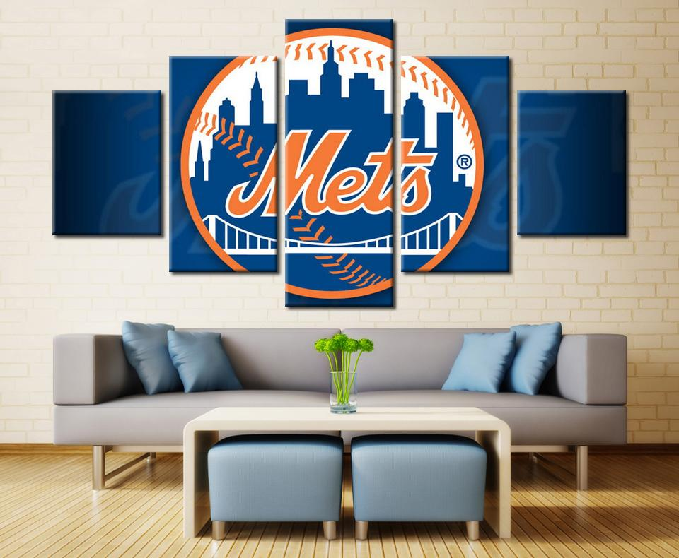 5 Piece New York Mets Team Baseball Canvas Painting Frames   It Make Your  Day