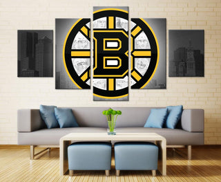 5 Piece Boston Bruins 1 Hockey Canvas Wall Art Paintings - It Make Your Day