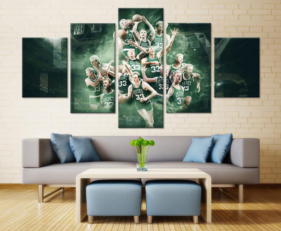 5 Piece Boston Celtics Basketball Canvas Painting Wall Art   It Make Your  Day