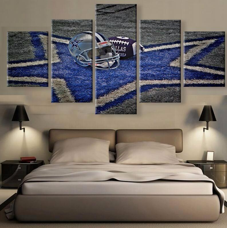 5 Piece Dallas Cowboys Football Logo Canvas Paintings - It Make Your Day