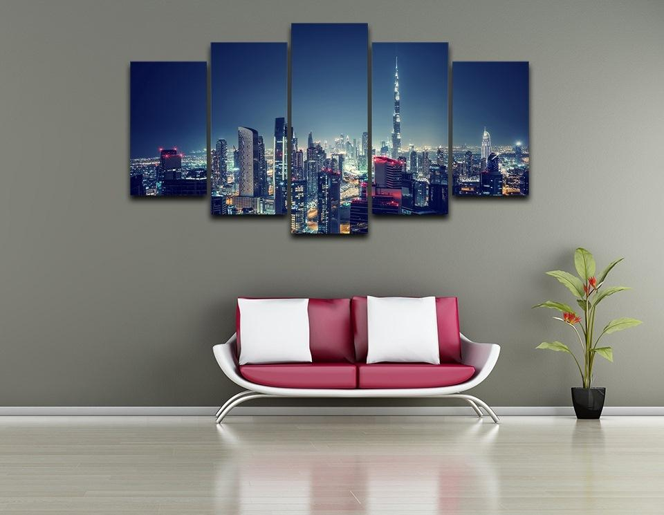 5 Piece  Dubai city at night Canvas Painting Landscape - It Make Your Day