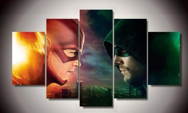 5 Piece Flash vs. Arrow Movie Canvas Painting Wall Art - It Make Your Day