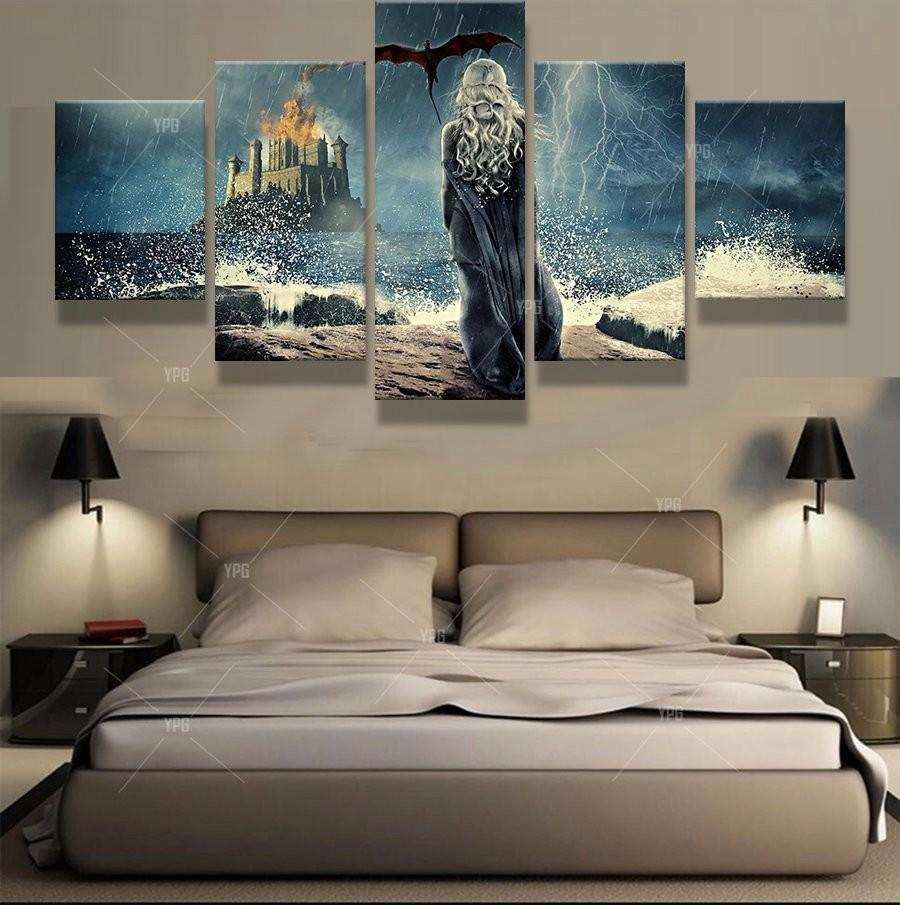 5 Piece Game of Thrones Daenerys Dragon Canvas Painting Wall Art - It Make Your Day