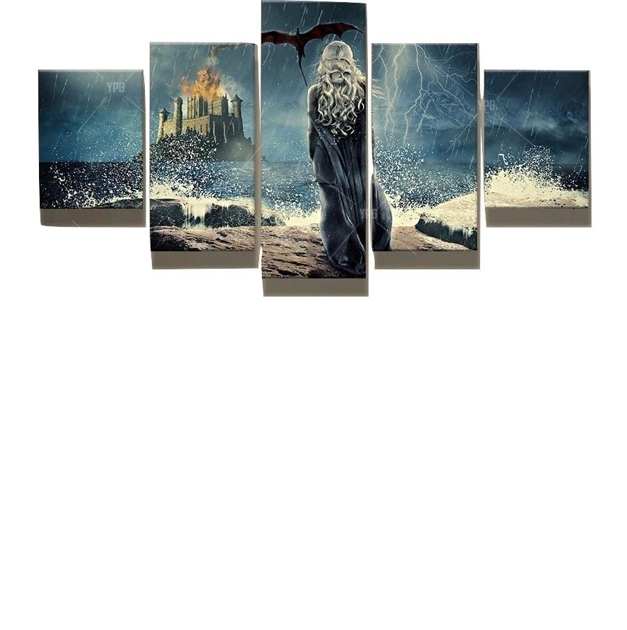 5 Piece Game of Thrones Daenerys Dragon Canvas Wall Art Paintings - It Make Your Day