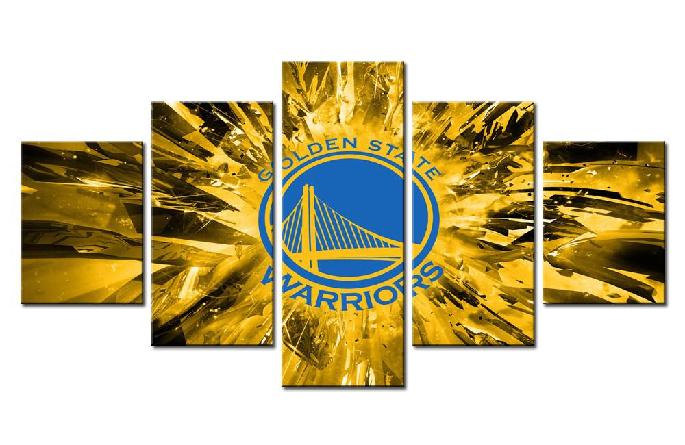 5 Piece Golden State Warriors Team Basketball Canvas Painting Wall ...