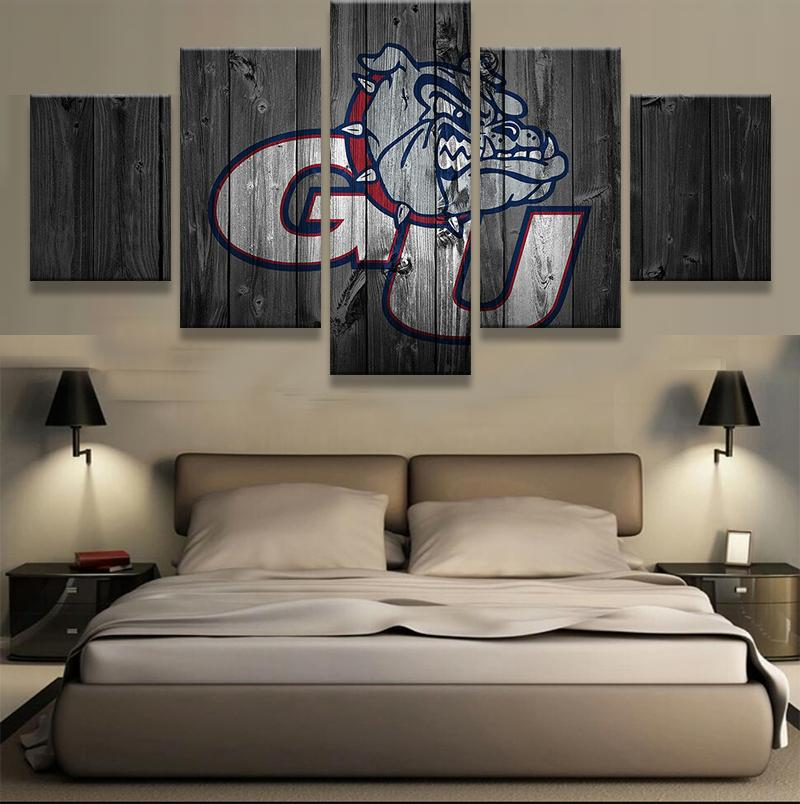 5 Piece Gonzaga Bulldogs Team Basketball Canvas Painting Wall Art - It Make Your Day