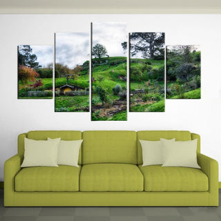 5 Piece Hobbit's House Green Hills Canvas Painting Nature - It Make Your Day