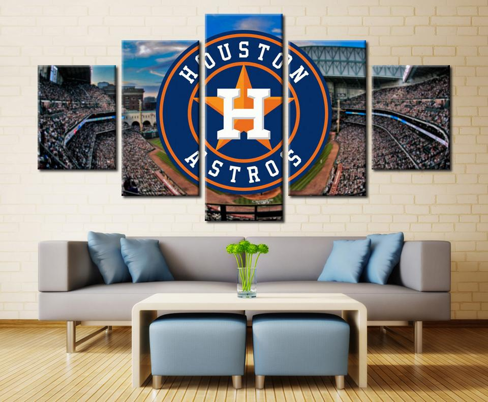 5 Piece Houston Astros Stadium Baseball Canvas Painting Frame For