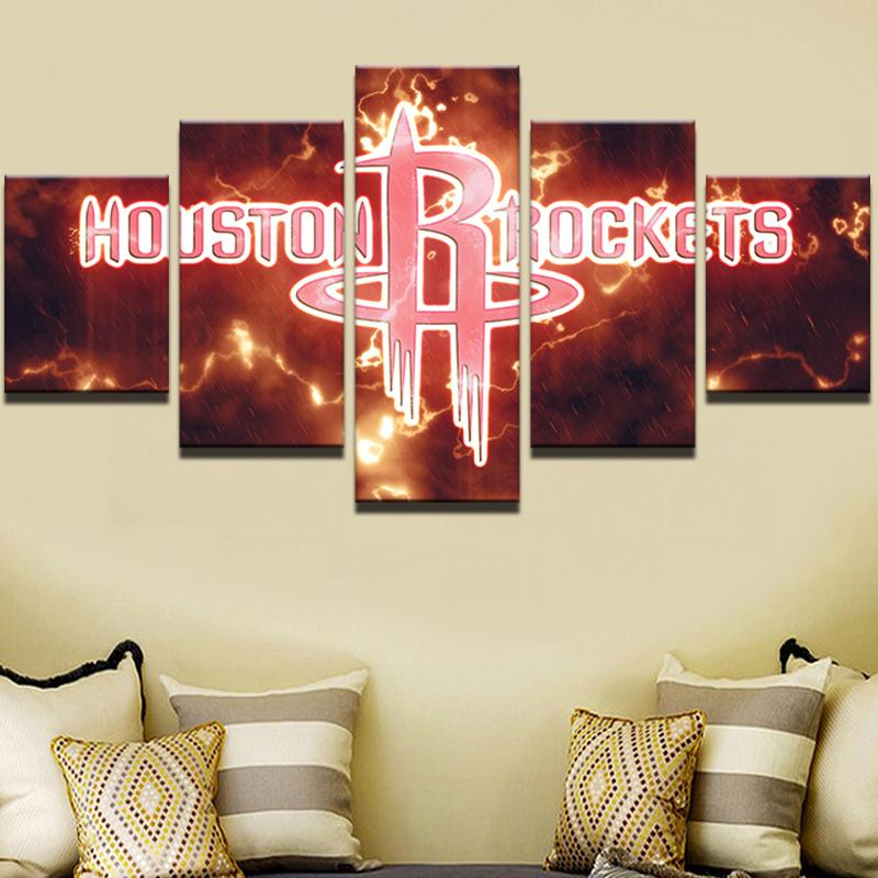 5 Piece Houston Rockets Basketball Canvas Painting Wall Art - It Make Your Day