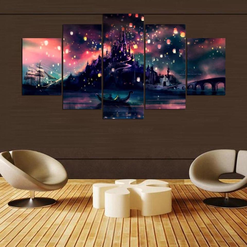 5 Piece Illustrative Tangled Canvas Painting Landscape Wall Art - It Make Your Day