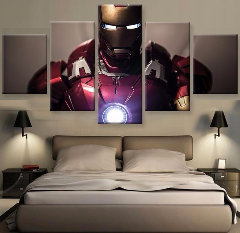 5 Piece Iron Man Movie Character Movie Canvas Painting Wall Art - It Make Your Day