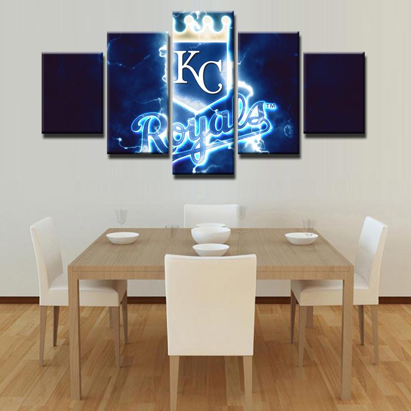 5 Piece KC Royals Team Baseball Canvas Painting Frames