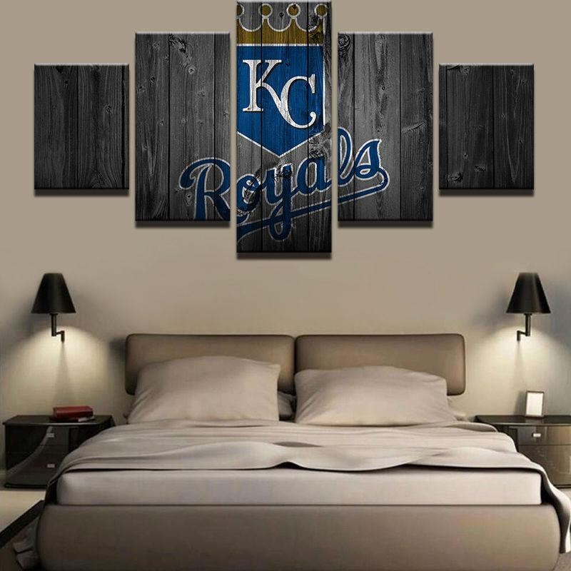 5 Piece Kansas City Royals Baseball Canvas Painting Frames   It Make Your  Day