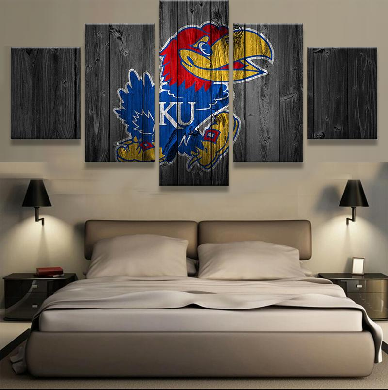 5 Piece Kansas Jayhawks Team Canvas Painting Wall Art - It Make Your Day