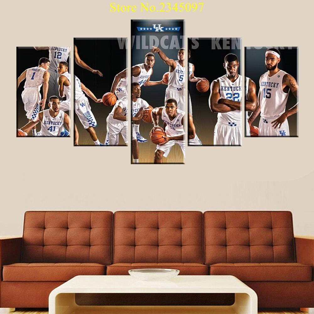 5 Piece Kentucky Wildcats Basketball Canvas Painting Wall Art - It Make Your Day