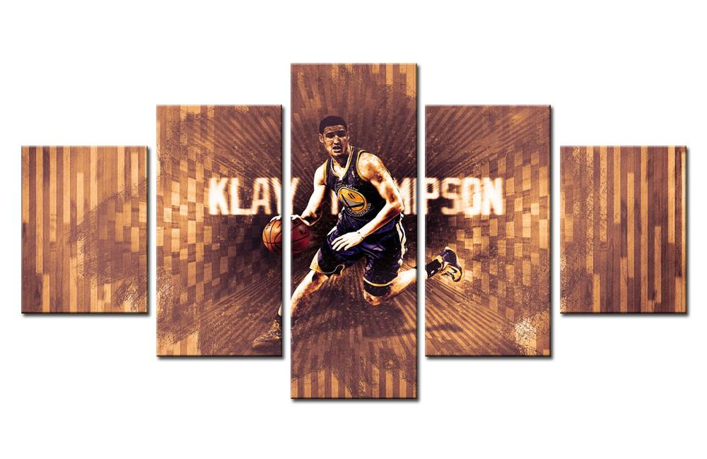 5 Piece Klay Thompson Team Basketball Canvas Painting Wall Art - It Make Your Day