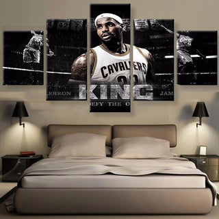 5 Piece Lebron James the King Basketball Canvas Painting Wall Art - It Make Your Day