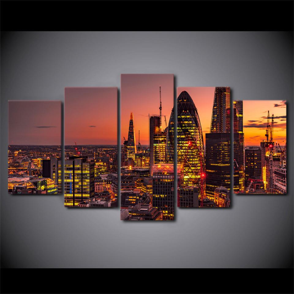 5 Piece London night city building Canvas Painting Landscape - It Make Your Day