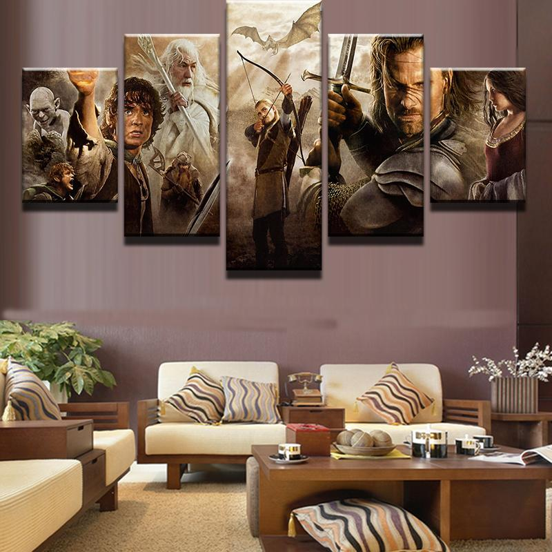 5 Piece Lord Of The Rings Characters Movie Canvas Painting Wall Art - It Make Your Day