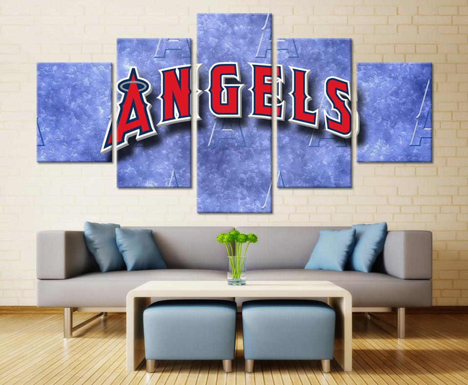 5 Piece Los Angeles Angels Baseball Canvas Painting Frames - It Make Your Day