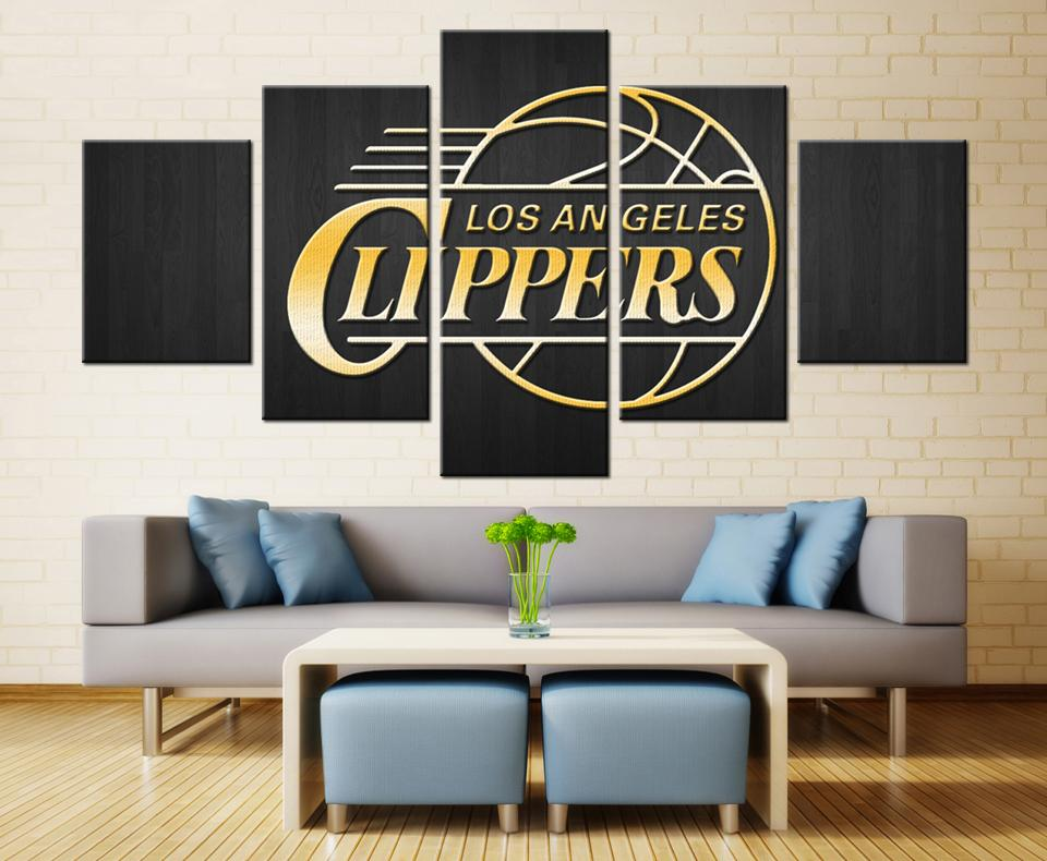 5 Piece Los Angeles Clippers Basketball Canvas Painting Wall Art - It Make Your Day
