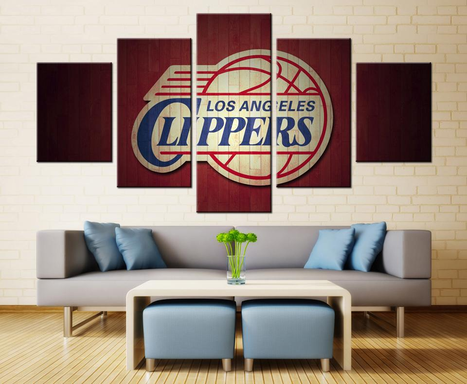 5 Piece Los Angeles Clippers Team Basketball Canvas Painting Wall Art - It Make Your Day