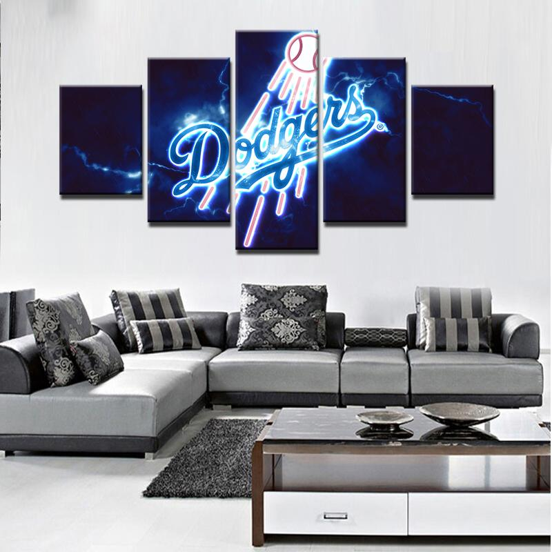 5 Piece Los Angeles Dodgers Baseball Canvas Painting Frames - It Make Your Day