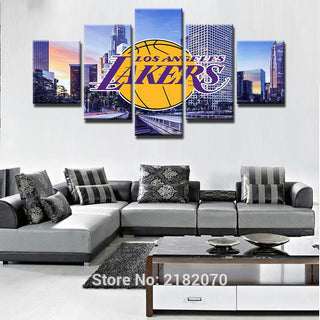 5 Piece Los Angeles Lakers Basketball Canvas Painting Wall Art - It Make Your Day