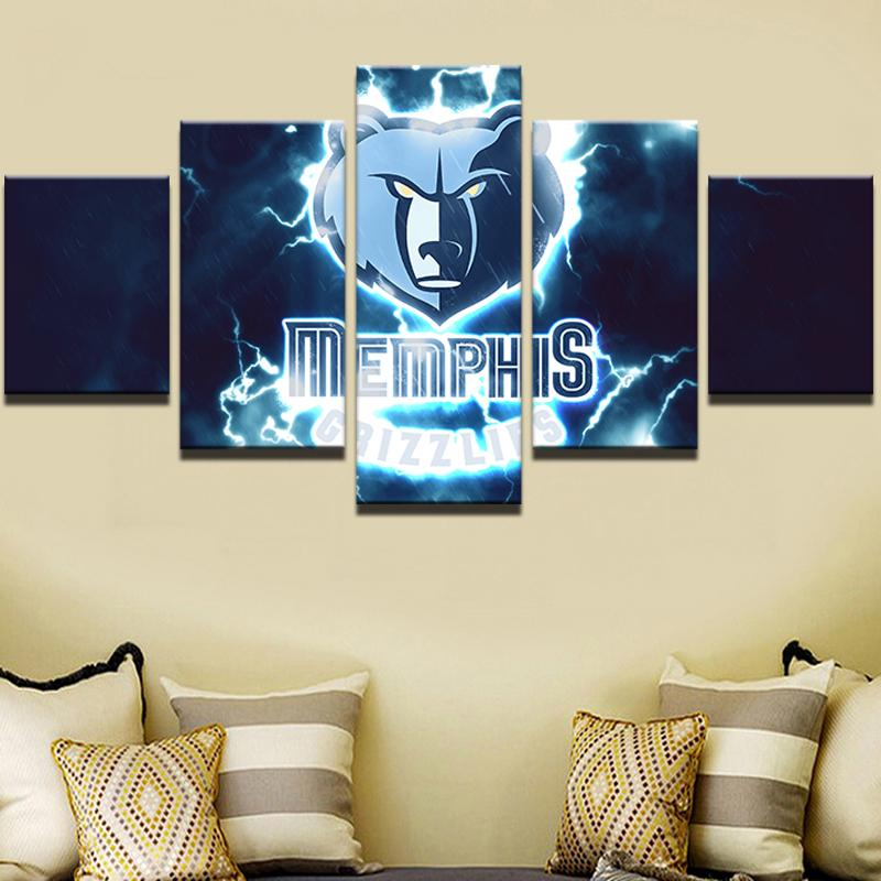 5 Piece Memphis Grizzlies Basketball Canvas Painting Wall Art - It Make Your Day