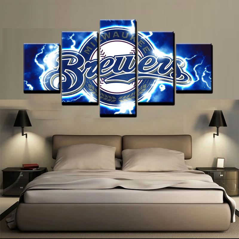 5 Piece Milwaukee Brewers Logo Baseball Canvas Painting Frames - It Make Your Day