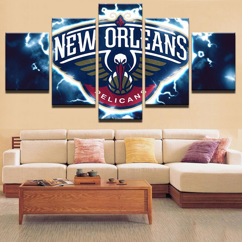 5 Piece  New Orleans Pelicans Basketball Canvas Painting Wall Art - It Make Your Day