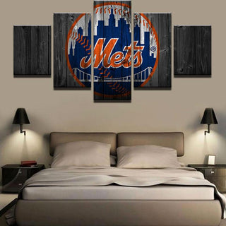 5 Piece New York Mets Logo Baseball Canvas Painting Frames - It Make Your Day