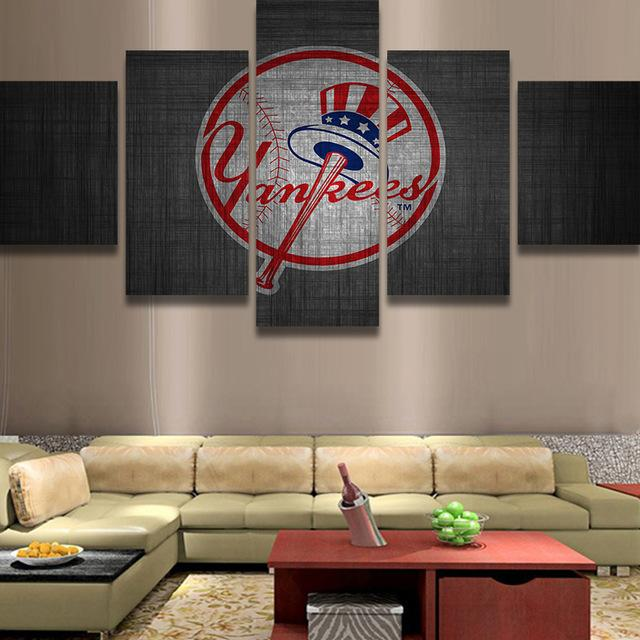 5 Piece New York Yankee Logo Baseball Canvas Painting Frames - It Make Your Day