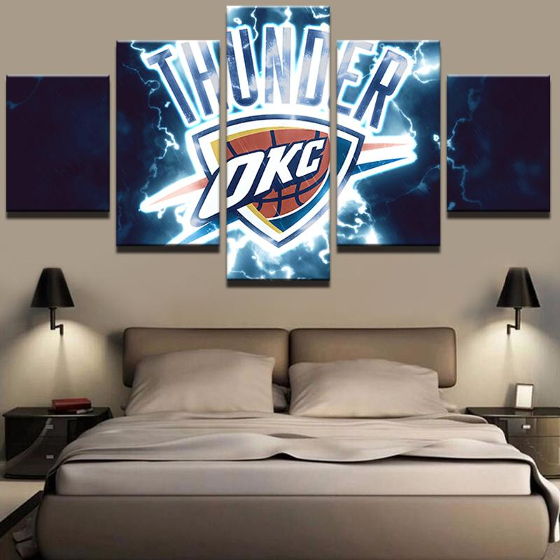 5 Piece OKC Thunder Basketball Canvas Painting Wall Art - It Make Your Day