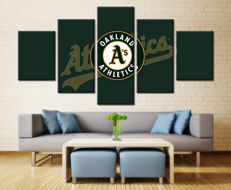 5 Piece Oakland Athletics Team Baseball Canvas Painting Frames - It Make Your Day