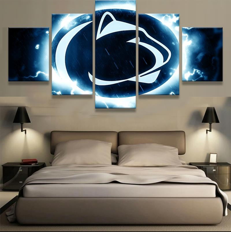 5 Piece Penn State Nittany Lions Basketball Canvas Painting Wall Art - It Make Your Day