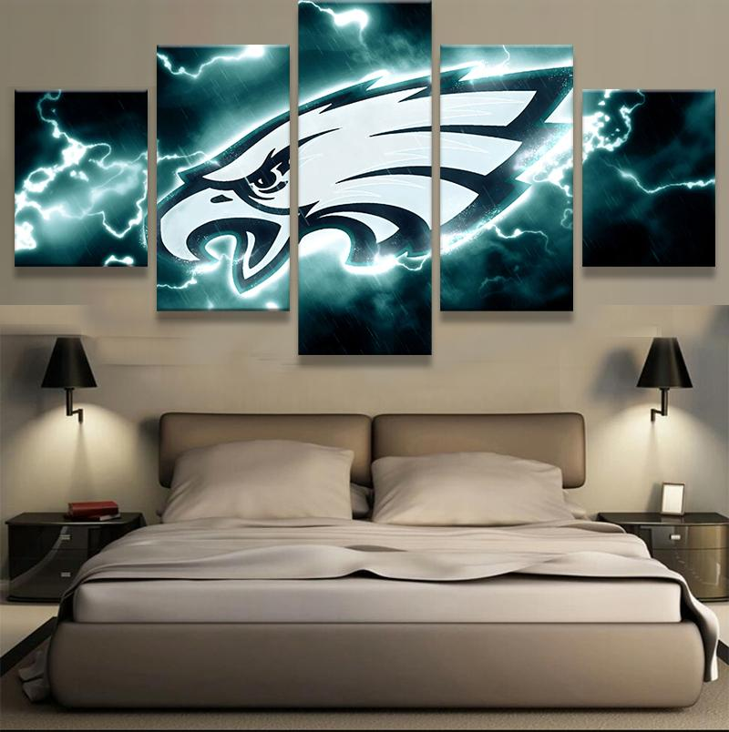 5 Piece Philadelphia Eagles American Football Canvas Painting Wall Art - It Make Your Day