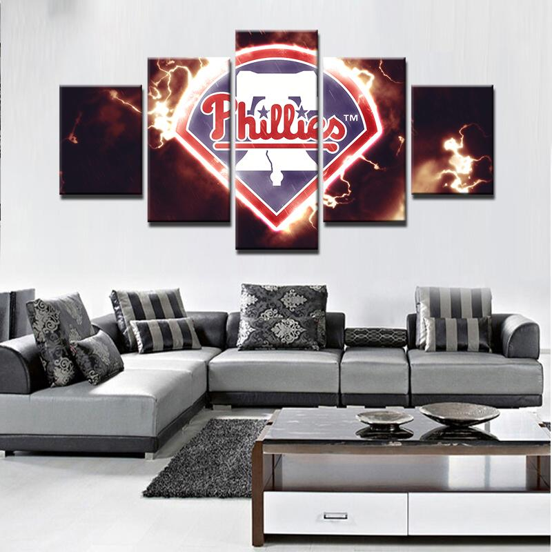 5 Piece Philadelphia Phillies Baseball Canvas Painting Frames - It Make Your Day