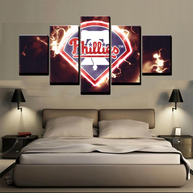5 Piece Philadelphia Phillies Baseball Canvas Painting Frames   It Make  Your Day