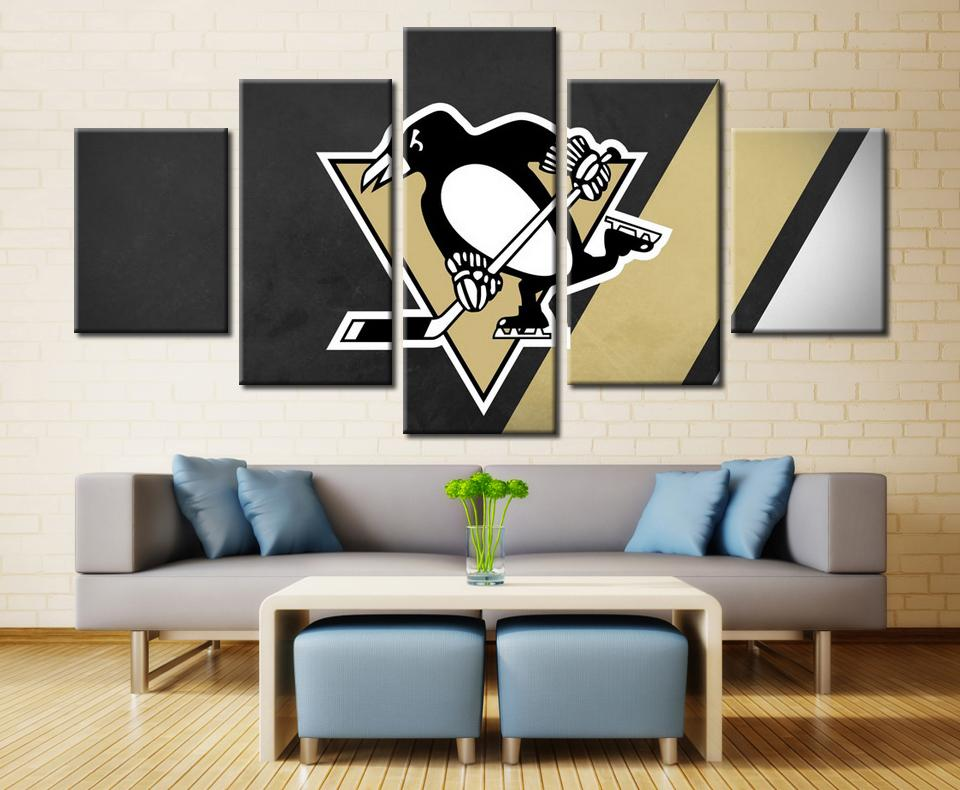 5 Piece Pittsburgh Penguins 2 Hockey Canvas Paintings - It Make Your Day