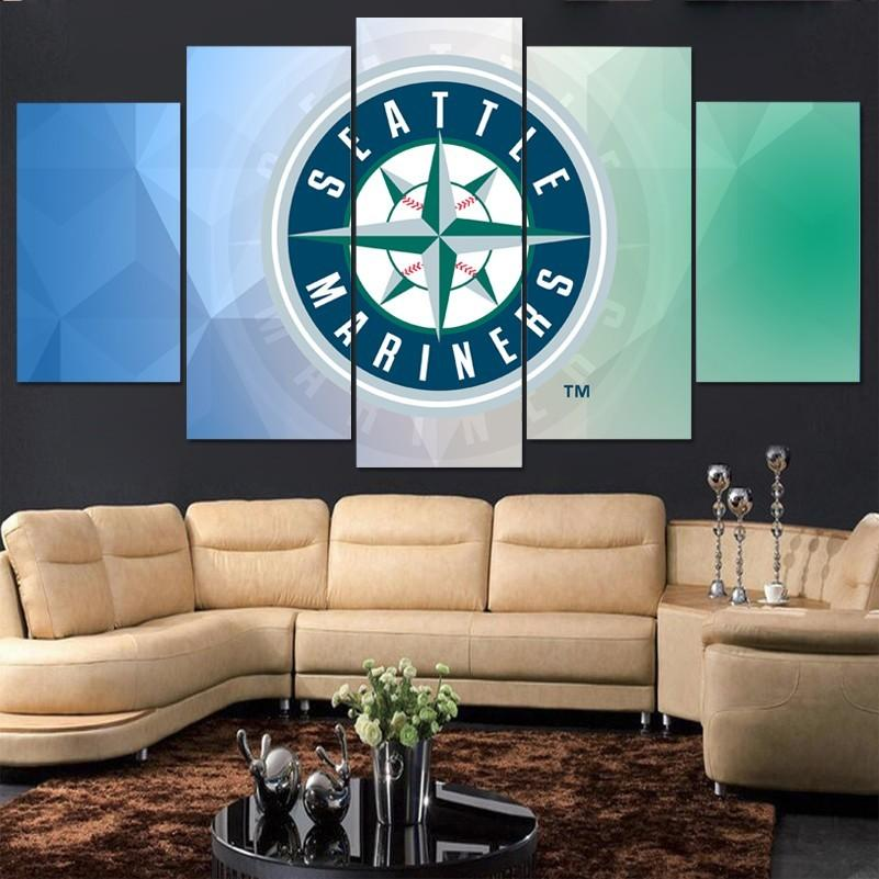 5 Piece Seattle Mariners Baseball Canvas Painting Frames - It Make Your Day